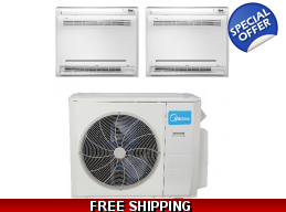Midea 2 Zone Console Mini Split Heat Pump AC Duc..